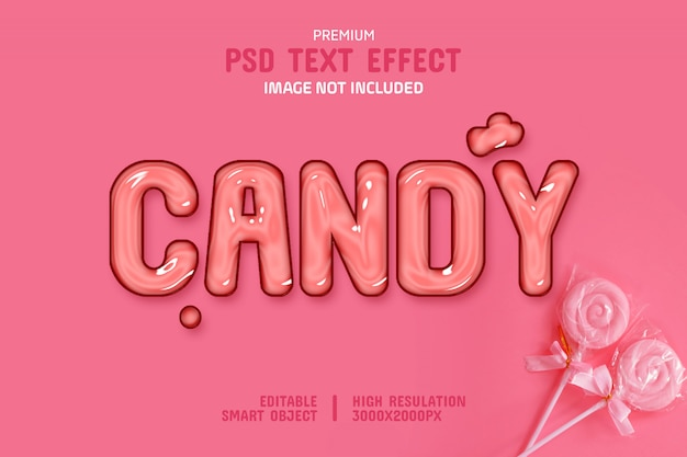 Editable glossy candy text effect template