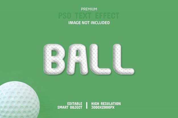 編集可能なゴルフボールテキスト効果テンプレート Premium Psd