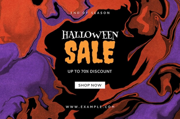Редактируемый шаблон баннера продажи хэллоуина с абстрактным фоном жидкого мрамора