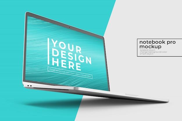 편집 가능한 고품질 프리미엄 노트북 psd 모형은 왼쪽보기에서 직각으로 디자인을 모의합니다.