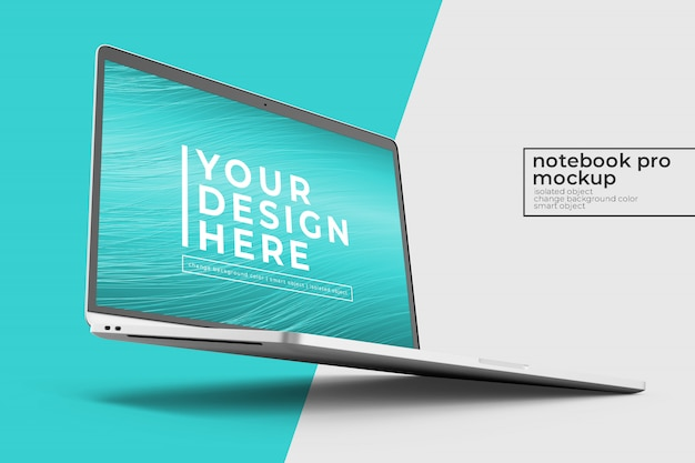 Editable high quality premium laptop psd mock ups design s in right angled in left view