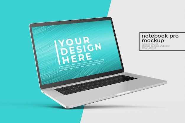 Editable high quality realistic premium laptop psd mockup design  in left tilted position