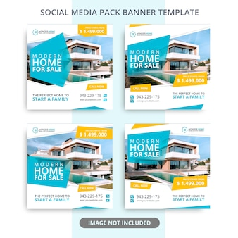 Editable home for sale real estate banner promotions pack Premium Psd