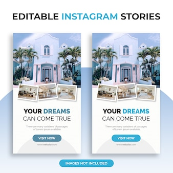 Editable instagram stories templates with photo collage