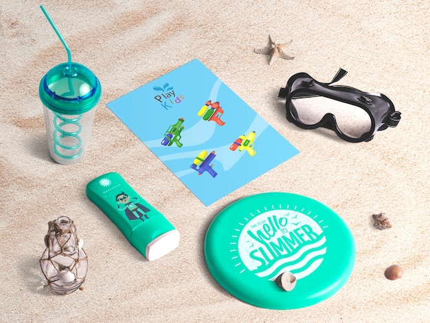 Editable isometric cover mockup with summer elements