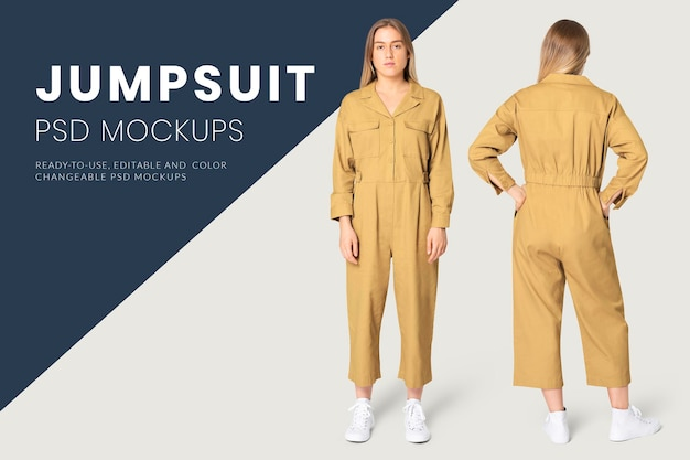 Editable jumpsuit mockup psd women's street fashion ad