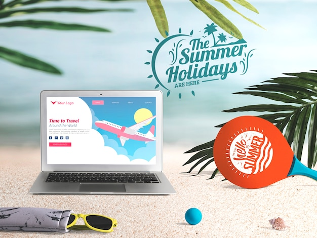 Editable laptop mockup with summer elements