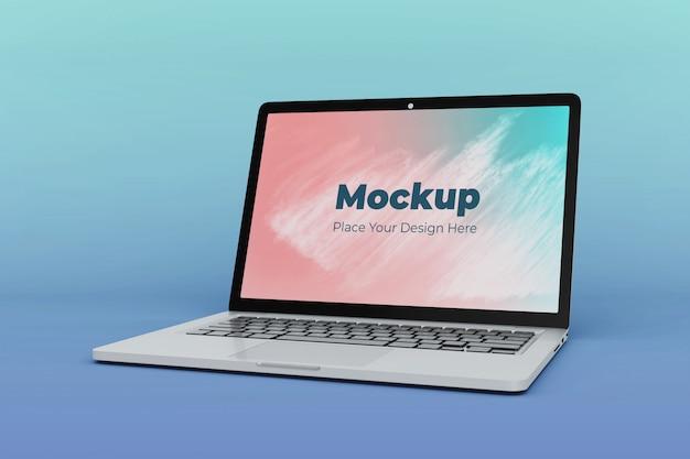 編集可能なノートパソコンの画面のモックアップデザインテンプレート