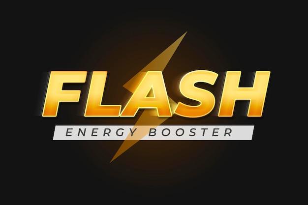 Редактируемый макет логотипа psd желтый текстовый эффект, слова flash energy booster