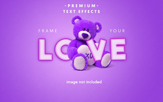 Editable love text effect