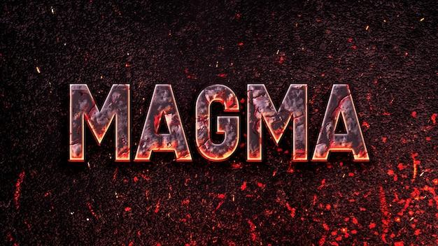 Редактируемый текстовый эффект магмы psd шаблон