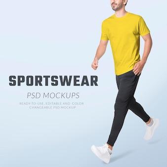 편집 가능한 남성 스포츠웨어 모형 psd 의류 광고