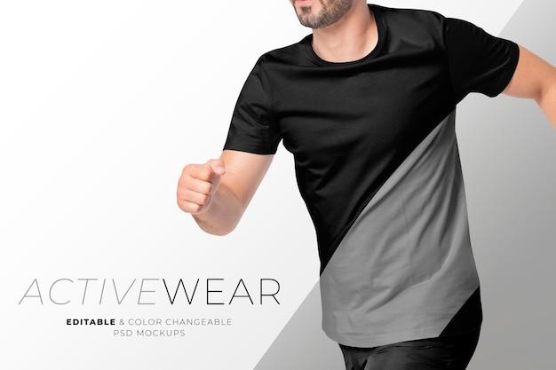 검은색과 회색 활동복 광고에서 편집 가능한 남성용 티셔츠 psd 모형