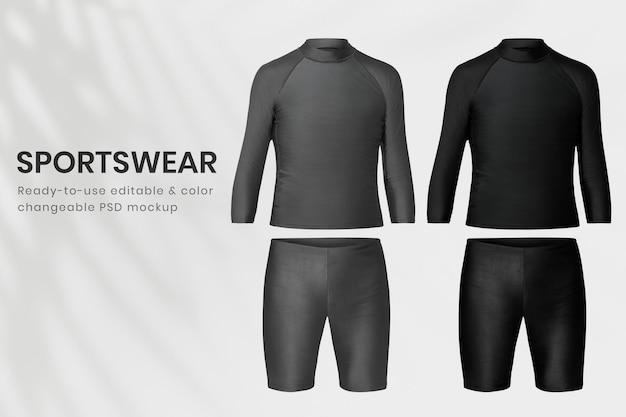 Editable men sportswear mockup psd rash guard and swim shorts apparel
