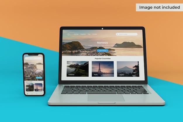 編集可能なモバイルデバイスとラップトップ画面のモックアップ