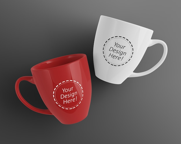 Editable mock up design template of two cafe cups laid down