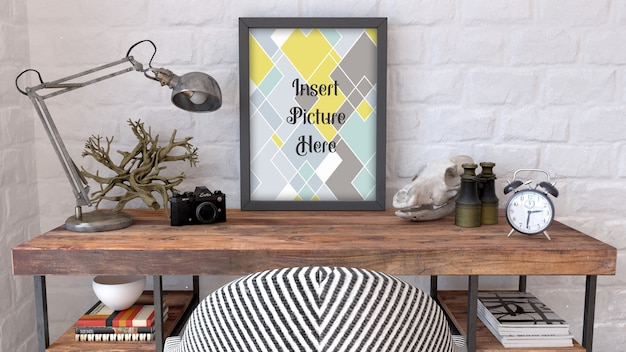 Editable mock up with picture frame on desk top
