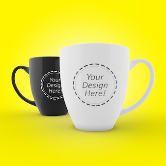 Editable mockup design for branding of two cafe mugs