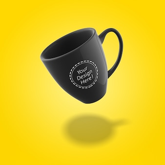 Editable mockup design template single bistro cafe mug flying