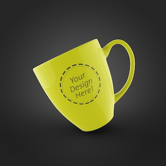 Editable mockup design template of single coffee mug in oblique angle position
