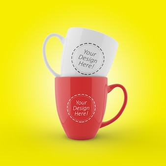 Редактируемый шаблон макета двух чашек в кафе, уложенных в виде спереди