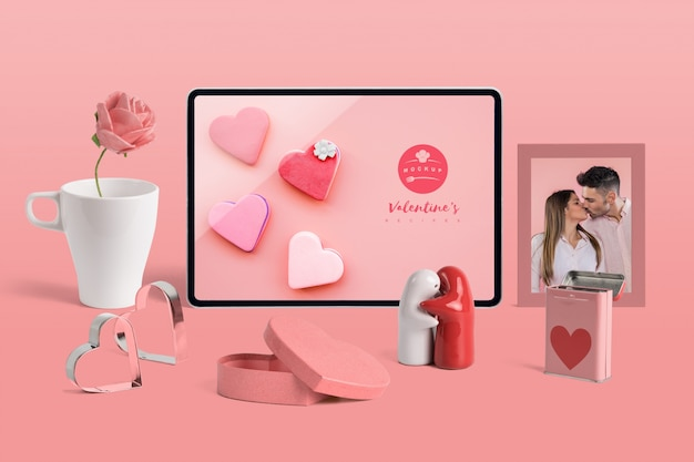 Editable mockup of valentine elements