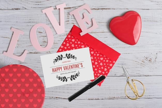 Editable mockup of valentine elements