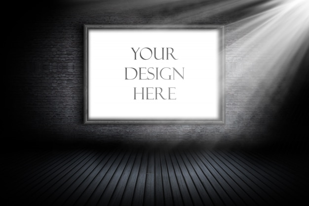Editable mockup with blank picture frame under spotlight