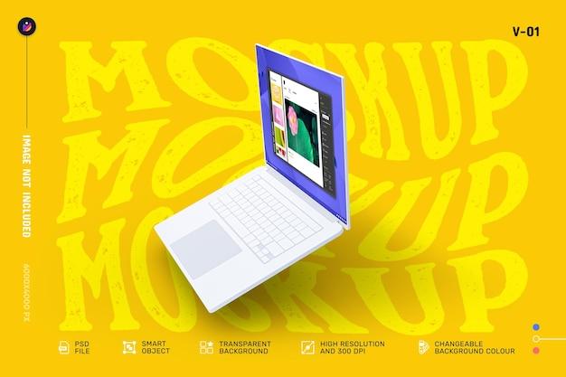 編集可能なモダンなノートパソコンの画面のモックアップデザイン Premium Psd