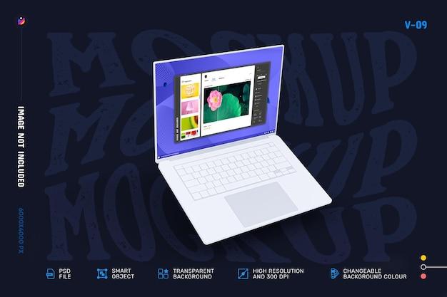 編集可能なモダンなノートパソコンの画面のモックアップデザイン