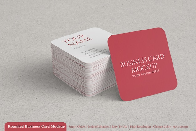 Editable modern stacked 90x50mm business card with rounded corner mockup design