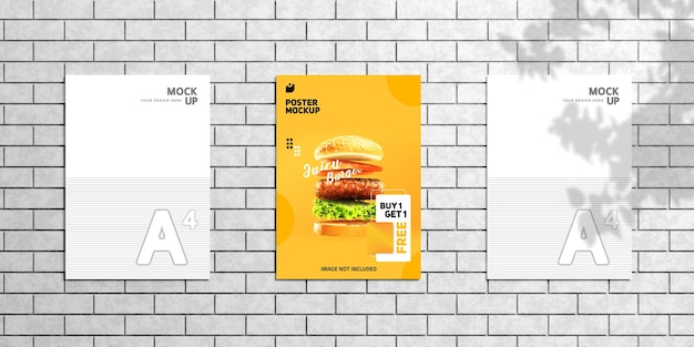 Editable modern wall flyer and poster mockup