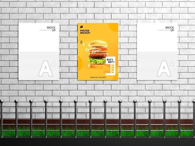 Editable modern wall flyer and poster mockup