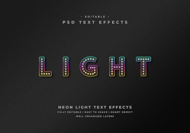 Editable neon light text style effect