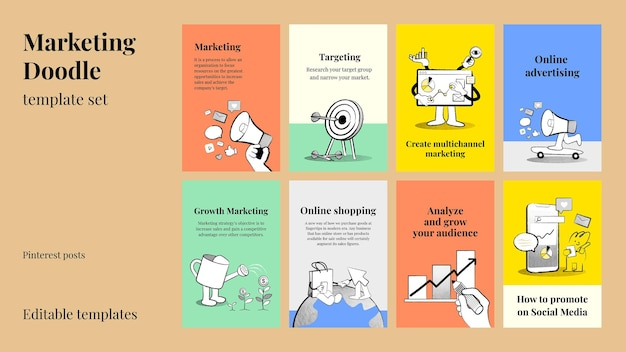 Editable online business templates psd with doodle illustrations for marketing set