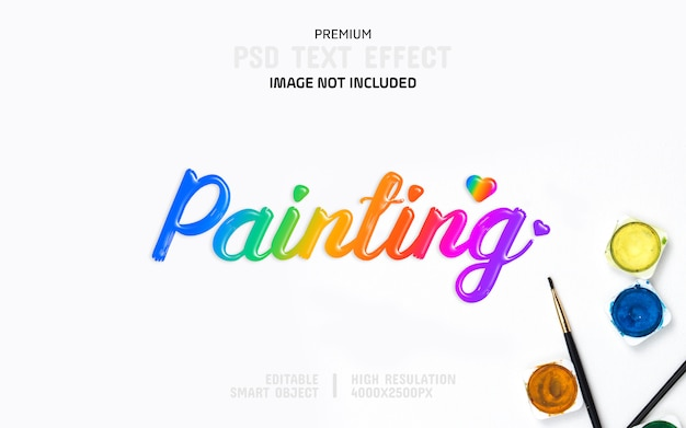 Editable painting colour text effect template