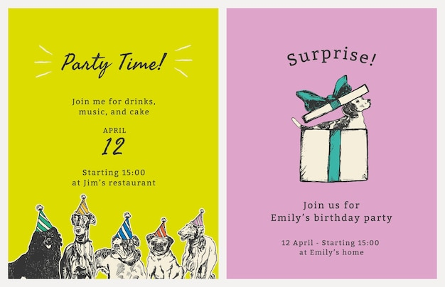 Editable party flyer template psd with quote set, remixed from artworks by moriz jung