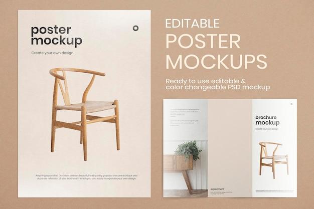 Editable poster mockup psd with tri-fold brochure