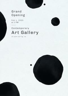 Modello di poster modificabile psd con motivo a pennello inchiostro per galleria d'arte