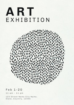미술 전시회를 위한 잉크 브러시 패턴이 있는 편집 가능한 포스터 템플릿 psd