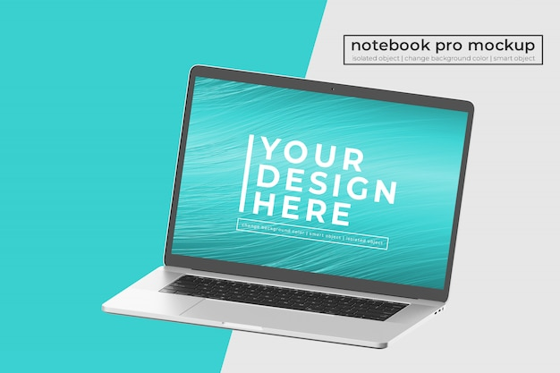 Editable premium realistic 15 inch notebook pro psd mock up design  in right angled isometric view