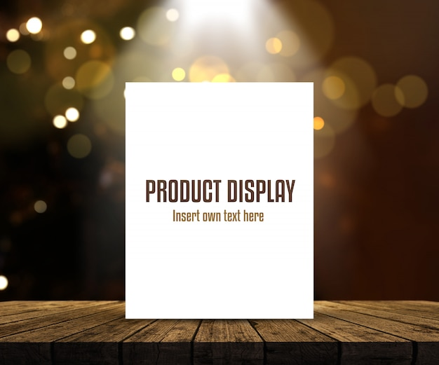 Editable product display background with blank picture on wooden table against bokeh lights