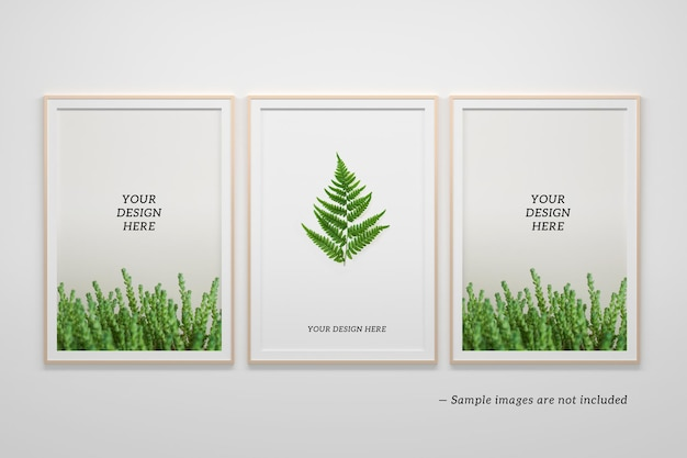 Editable psd mockup tempalte with three vertical a4 frames on white background