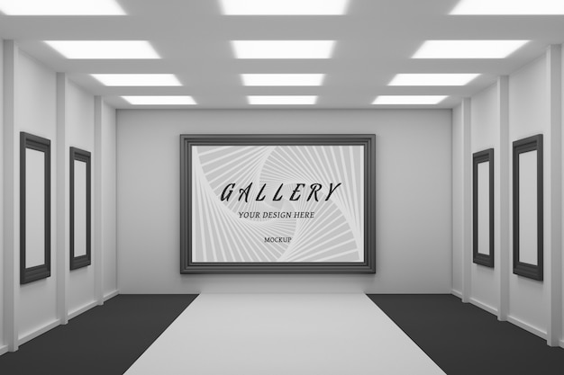 Editable psd mockup with large black frame hanging on the wall of gallery