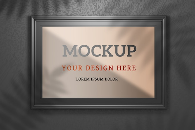 Editable psd mockup with large wide black photo frame on black
