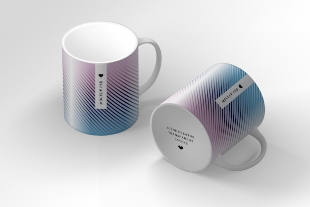 Editable psd scene creator with two mugs cups