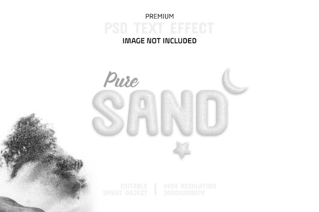 Editable pure sand text effect template