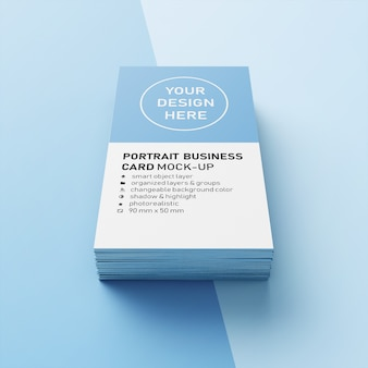 Editable realistic 90x50 mm portrait business card with sharp corner mockup design template in front view