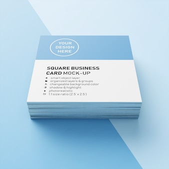 Editable realistic 90x50 mm stacked square business card with sharp corner mock up design template in front view