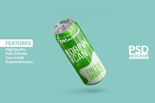 Editable realistic floating left long aluminium drink can mock up design template